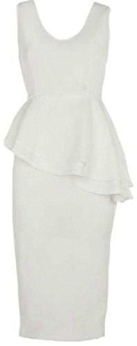 trendy-clothings robe mini robe Bodycon péplum robe Longueur Genou Mesdames Frivolité Plus Taille 8–22 Blanc - Crème