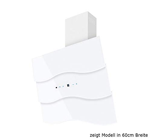 Dunstabzugshaube Wandhaube F.BAYER WAVE 80W ECO 80cm Weiß Weißglas Dunstabzug 700m³/h EEK B LED