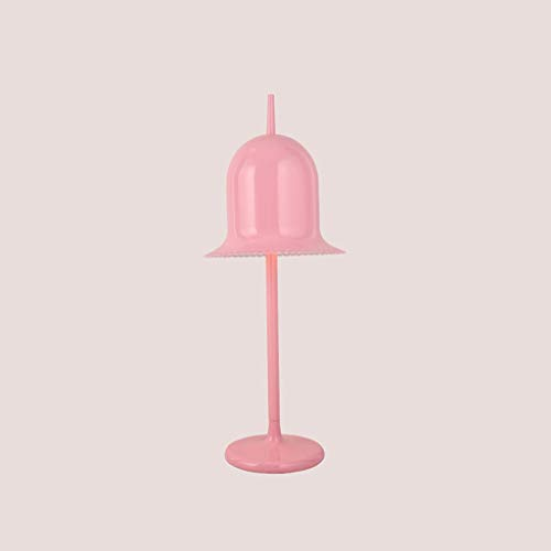 ● * Lámpara de escritorio de campana de hierro holandesa nórdica postmoderna Gentleman Bell rosa niña niña luz de mesa señoras cordón gorra lámpara de mesa Accesorios de iluminación altura: 78 cm ●