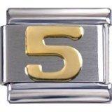 Toc Stainless Steel Number 5 Italian Charm For Italian Bracelet