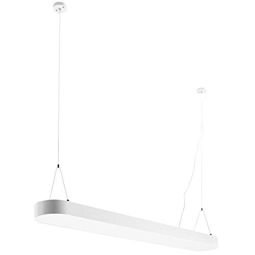 FineBuy LED-Deckenleuchte CORD Metall Matt weiß EEK A+ Büro-Deckenlampe 48 Watt 120 x 121 x 15 cm | Design Arbeitsplatz Hängelampe 4080 Lumen kaltweiß ohne Schirm | Office Pendellampe IP20
