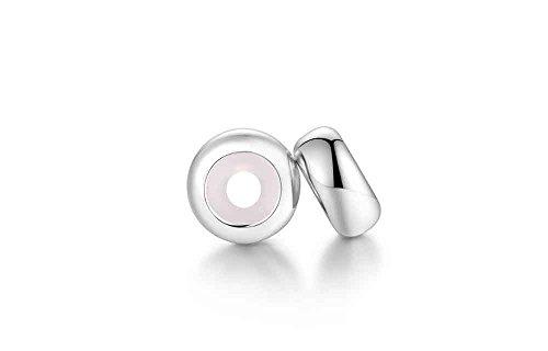 Charm stopper in argento sterling 100% made in spagna, compatibile con braccialetti pandora, chamilia swarovski,, etc.. clip sicurezza argento