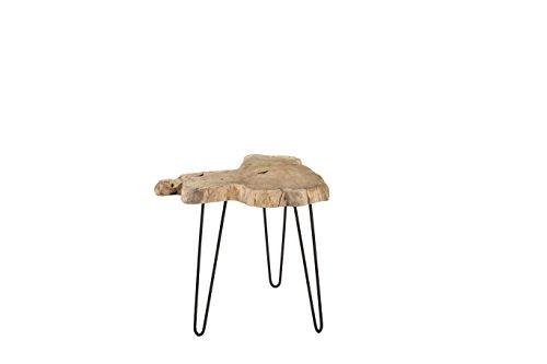 Pirouette Table d'Appoint en Teck Naturel Pieds en Métal, Bois, Naturel-Noir, 58 x 52 x 50 cm