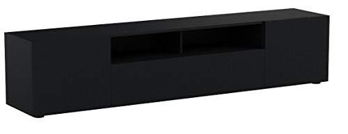 Vladon TV Board Lowboard Mogan, Korpus in Schwarz matt/Fronten in Schwarz matt