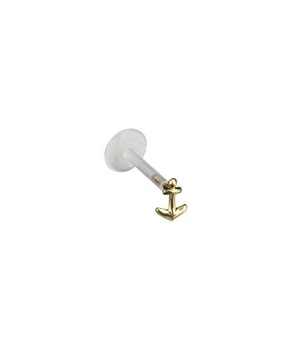 SIX 925er Silber Ohrstecker Piercing Tragus Anker vergoldet gold (709-876)