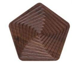 XH Shop Coaster Geometrischer Untersetzer aus schwarzem Walnussholz Massivholz-Isoliermatte für kreative Wassertassenschalen aus Massivholz (Shape : Pentagon)