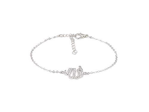 Remi Bijou Wunderschönes Armband Armkette Armkettchen - Allah Namen Muslim Islam - Zirkonia Strass (Silber)