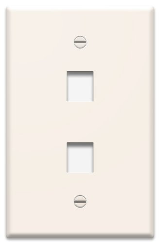 OnQ / Legrand WP3402LA 1Gang, 2Port Wall Plate, Light Almond by On-Q/Legrand (Light Wall Almond Plate)