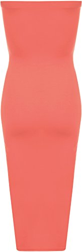 WearAll - Femmes Boob Tube bretelles stretch moulante longue Midi Robes - Robes - Femmes - Tailles 44-50 Corail