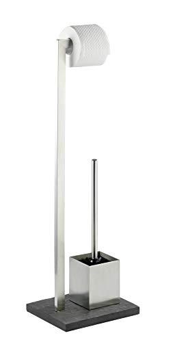 WENKO 18448100 Stand WC-Garnitur Slate Rock - WC-Bürstenhalter, Edelstahl rostfrei, 23 x 73,5 x 19,5 cm, Satiniert -