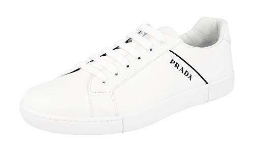 Prada 4E3340 6DT F0009 Herren Sneaker aus Leder, Weiá (weiß), 43 EU (Schuhe Männer Prada)