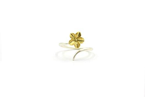 Plumeria-ring (You & XI Jewelry Sterling Silber Damen Mädchen Matt Finish vergoldet und verstellbar um Hawaiian Plumeria Blume Ring)