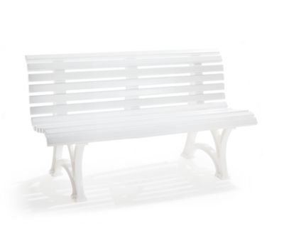 Parkbank aus Kunststoff – mit 13 Leisten – Breite 2000 mm, stahlblau – Bank Gartenbank Kunststoff-Bank Kunststoff-Bänke Ruhebank - 4