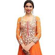 Anjani textile orange women enbriodered Kurti dress material