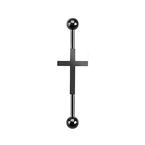 Paula & Fritz® Industrial Stab Piercing Straight Barbell Hantel Kreuz Silber schwarz Gelbgold Ohr Edelstahl Chirurgenstahl 316L BI22-1438_K