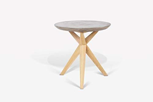 andiamo Betontisch Ø 45-46 cm Tischplatte/Beistelltisch Dekotisch Gartentisch - Tischplatte aus 100% Beton, Farbe:Grau,...