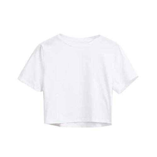 Sherpa Crew-shirt (CuteRose Women's Sexy Cropped Crew-Neck Tees Top Short-Sleeve Basic T-Shirts White S)