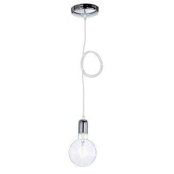 takestop® PENDENTE acciaio bianco A SOFFITTO CROMATO PORTALAMPADA LAMPADA MODERNO DESIGN E26 E27 CAVO IN (Soffitto Cavo)