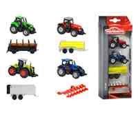 Majorette 212057420 - Farm Set, vierteiliges Traktor Set inkl. Anhänger in verschiedenen Ausführungen, 7,5cm
