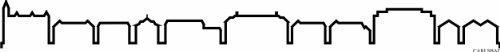 INDIGOS UG - Wandtattoo Wandsticker Wandaufkleber Aufkleber - Wandaufkleber f1264 Skyline Stadt - Carlsbad (USA - United States) Design 4-180x19 cm - schwarz - Dekoration Küche Bad Büro Hotel