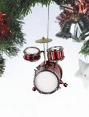 Red Junior Drum Set Music Instrument Replica Christmas Ornament, Size 3 inch by Broadway Gift