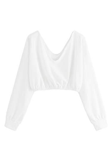 Fetale Überwachung (Verdusa Damen v-Ausschnitt Pullover Langarm Crop top Sweatshirt klein weiß)