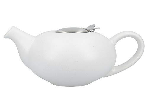 London Pottery Teekanne mit Teesieb für losen Tee, Steingut, Weiß gesprenkelt für 4 Tassen (1 Liter) (Gesprenkelte Steingut)