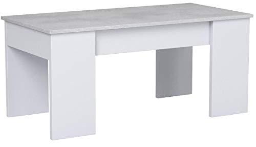 Habitdesign 0L1640A- Mesa de Centro elevable, mesita de Comedor, Medidas: 100 cm (Largo) x 50 cm (Ancho) x 45-56 cm (Alto) (Blanco Artik y Gris Cemento)