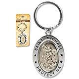 San St Michael 31/4'placa de plata de aleación de zinc giratoria doble tono clave Anillo con oración