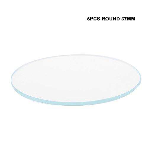 5 STÜCKE 37/38/39 MM Runde Flache Uhr Kristalllinse Glas Ersatzteile für Uhrmacher Reparatur(37mm)