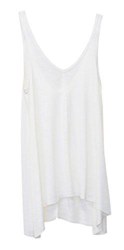 SODACODA Donna Sport Gym Tank Top – Canotta d'Estate – Camicia senza maniche in Cotone Bianca