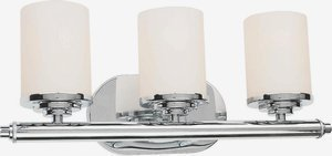 Forte Lighting 5115-03-05 Contemporary 3-Light Vanity Fixture with Satin Opal Glass, Chrome Finish by Forte Lighting