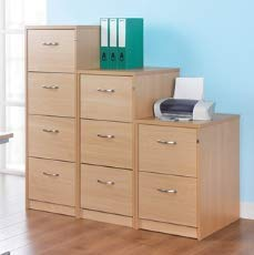Relax Office Deluxe 480mm Wooden Filing Cabinet With 3 Drawers Office Storage File Organisers, Lockable, Foolscap Suspension Filing In Beech, Maple, Oak, White Or Walnut Finish-(Oak)