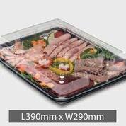 5x Medium Kunststoff Buffet Catering Party Lebensmittel/Sandwich Servierplatte Tabletts (mit Deckel) (Parteien Für Boden-abdeckungen)