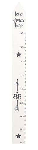 roba Messlatte 'Rock Star Baby' mit Bedruckung, Wachstumsmesser mit Skala bis 150 cm für Kinder, Messleiste, weiß/anthrazit