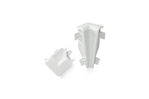 KGM Innenecke für Mega Sockelleiste | Inhalt 2 Stück ✓einfache Fussleisten Montage ✓saubere Ecken | passend für Mega Laminatleiste weiß | Mega Innenecken weiß aus Kunststoff -