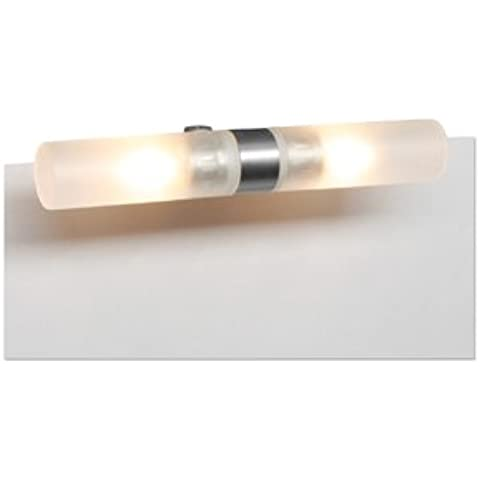 Lampada da specchio bagno in metallo e vetro naturale satinato, con morsetto di fissaggio fino a 7 mm, compresa lampadina