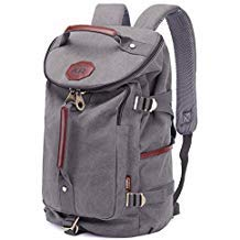 KAUKKO Multi-Function Vintage Canvas Rucksack Backpack Hiking Travel Military Backpacks Messenger Bag,Grau,L