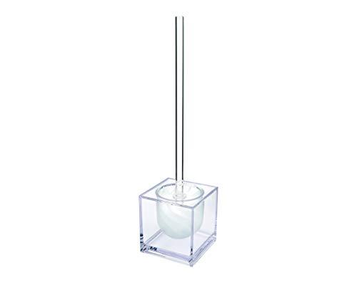 WATERCLOU innovative WC-Bürstengarnitur Silikon ohne Borsten - Stiel und Behälter Acryl transparent mit Sichtschutz weiß
