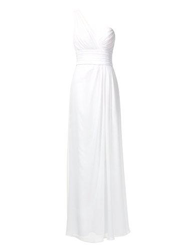 ANNN Femme Robe de Elégante une Épaule Soirée Cocktail Robe de Mariage Demoiselle D'honneur (Peut être personnalisé) Blanc