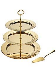 Goldfarbener Cupcake-Ständer - Dessert-Ständer - dreistöckiges Serviertablett für Hochzeiten und Party-Dekorationen - Bonus Gold Cake Server Edelstahl Tiered Dessert Server