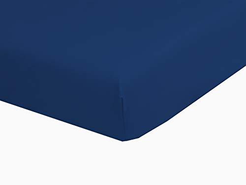 Drap Housse 2x80x200 Marine pour lit électrique 100% Coton confectionné en France