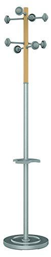 Home Unilux Accueil - Perchero de pie, madera de haya, base y barra para paraguas en acero, color gris, ref 3524576M
