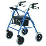 "Roma Lightweight 4 Wheeled Walker/Rollator with 8"" wheels - Blue"