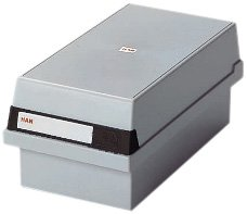 HAN 966-11, Karteikasten A6 quer, Innovatives, attraktives Design für 800 Karten, abnehmbarer Deckel inklusive großem Beschriftungsfeld, lichtgrau