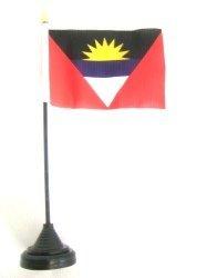 Novelties Direct Tisch Flagge von Antigua und Barbuda 10,2x 15,2cm 100% Polyester mit schwarzem Plastikstiel und Sockel (1)