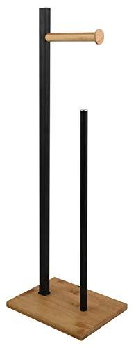 spirella Toilettenpapierhalter Stehend BxHxT: 20x68x18cm freistehender Papierrollenhalter Bambus Edler Rollenhalter für WC-Rollen als Ersatzrollenhalter Schwarz/Natur