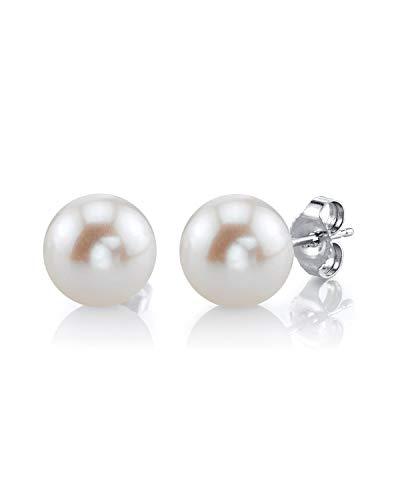 The Pearl Source - Orecchini a perno in oro 14k con perle di acqua dolce coltivate, bianche, 8-9 mm, qualità AAAA e Oro bianco, colore: oro/bianco, cod. 1
