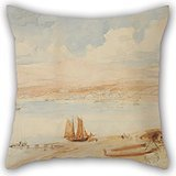 uloveme-16-x-16-inches-40-by-40-cm-oil-painting-charles-heaphy-wellington-harbour-nz-pillow-cases-tw