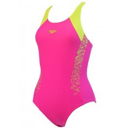 Speedo Mädchen Badeanzug Boom Splice Muscle Back, Mädchen, 810844C544, Electric Pink/Lime Punch, 140